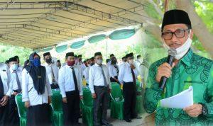 Bupati saat memberikan arahan pada pelantikan BPD se-Kecamatan Telaga di Taman RTH, Ruang Terbuka Hijau Telaga. (Foto:dok)